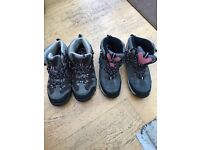 Outdoor walking boots size 4 and size 3 respectively