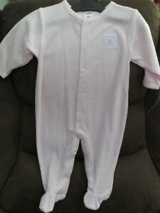 girls, light pink terry sleeper, size 6months