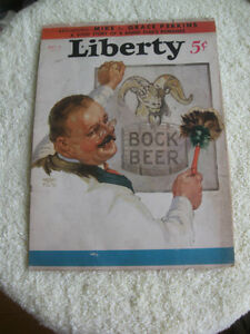 TWO OLD VINTAGE COLLECTIBLE ['33 & '35] LIBERTY MAGAZINE COVERS