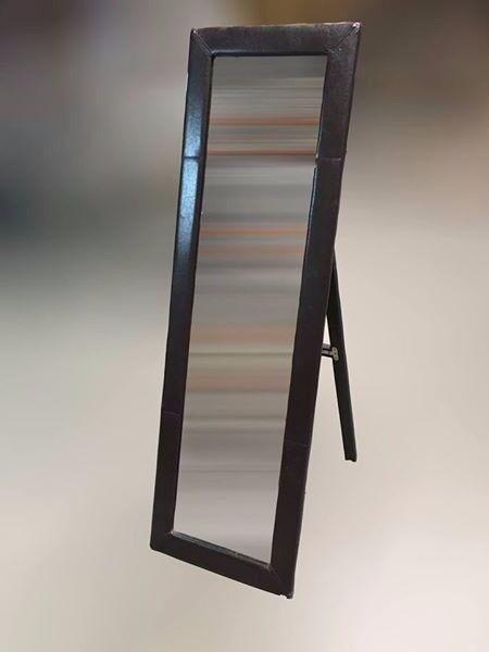 Free Standing Dark Brown Leather Effect Mirror
