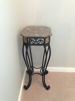 Granite and Iron Accent Table