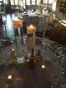 Wedding Centerpieces (Cylinders & Gold Bottles)