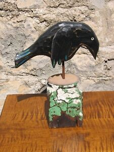 Large Hand Carved, Hand Painted Wooden Folk Art Crow on a Stump Kitchener / Waterloo Kitchener Area image 3