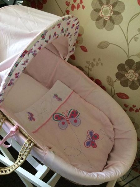 pink moses basket with white stand,very good conditionin Spalding, LincolnshireGumtree - lovely girls pink moses basket in excellent condtion ,comes with 2 sheets ,and you can change the hood as well ,the stand is a white mamas ,and papas very sturdy ,only selling as used only for 5 weeks and grandparents house