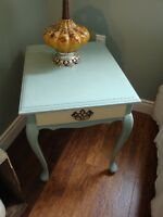 Side Table finished in egg blue and olld white