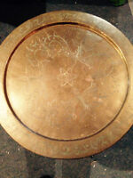 Estate sale of vintage brass top table (circa 1950)