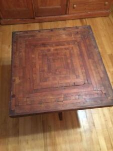 Antique Wooden Table with Mosaic Folk Art