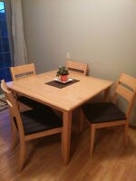 Solid Wood Kitchen/Dining Table + 4 Chairs