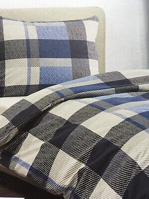 Bettwäsche 4 tlg. Feinbiber Karo blau/grau 140x200, Kissen 70x90 cm