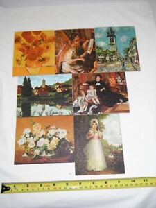 Assortment of 7 Vintage Lithographs of Famous Masters on Canvas