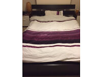 Ikea blk/brown wooden double bed frame