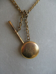 UNUSUAL ANTIQUE GOLD PLATED WATCH FOB with LOCKET ATTACHMENT