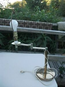 Brass Flex Arm Lamp without lampshade.