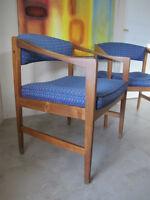 Mid-Century Modern Gunlocke Style Walnut Wood Side Chairs