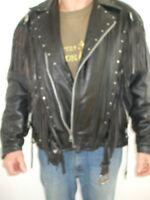 Womens  leather riding jacket  with frills