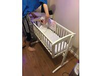 White mothercare rocking crib & bedding