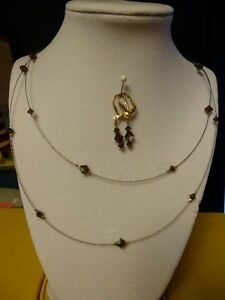 Swarovski Crystal  Brown Necklace and Earring Sets