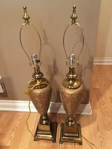 A pair of gold table lamps London Ontario image 5