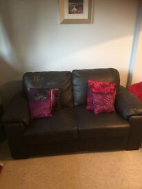 FREE OF CHARGE 2 seater brown leather couch