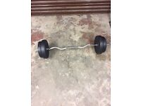 E-Z curl bar and weights