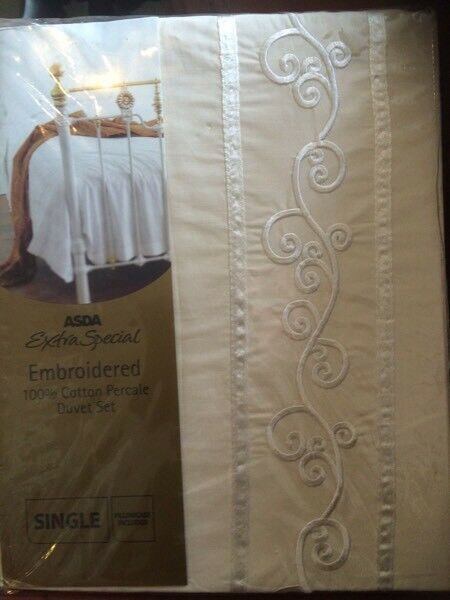 Lovely cream embroiders single bedset