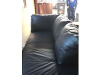 Leather corner unit settee