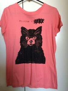 T Bar Salmon Pink Top/Shirt Cat Print Size M Southbank Melbourne City Preview