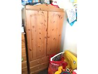 Cot, childrens wardrobe and chest