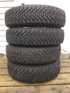 Set of 4 155/80/13 studded Goodyear Nordic winter tires