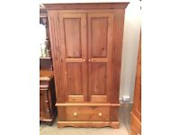 Antique Pine Double Wardrobe with Drawer - UK Delivery
