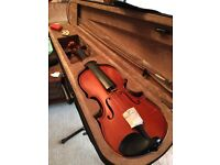 3/4 size VIOLIN with CASE, BRIDGE-PIECE, BOW and RESIN BLOCK