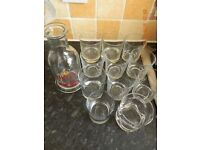Bells Whiskey Glass Jug and 11 Tumblers