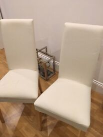 Set of 2 comfortable dining chairs + covers + brand new set of covers