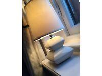 Cream glossy porcelain lamp