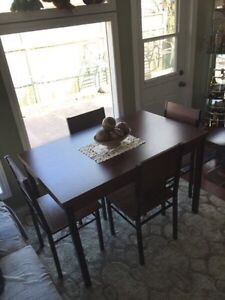 Table and 4 wood chairs