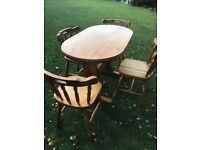 Solid pine twin pedestal dining table with four pine chairs ( can deliver )