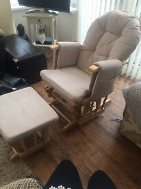 Rocking/nursing chair and stool