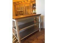 Kitchen island oak and steel butchers block breakfast bar