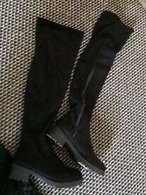 Size 8 Black Over The Knee Boots - Fab Condition **