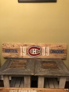 NHL hockey Montreal Canadiens rustic sign