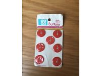 Set of seven red buttons *new*