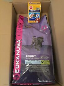 Eukanuba large breed (puppy) 15kg + Pedigree denta sticks