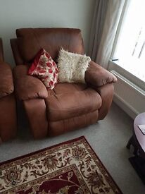 Brown 3 seater and two single sofa