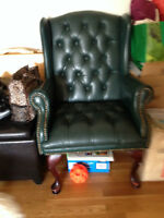 2 Green Faux Leather Chairs