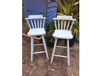 2 x wooden bar stools painted duck egg blue Shabby Chic