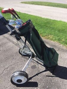 Golf cart and some clubs