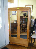 Large Wooden Wardrobe with Mirrored Doors