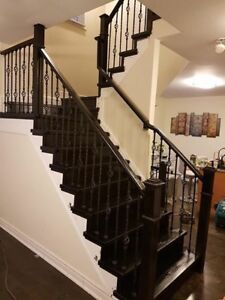 HARDWOOD STAIRS RE FACING WITH WOOD STAIR TREADS