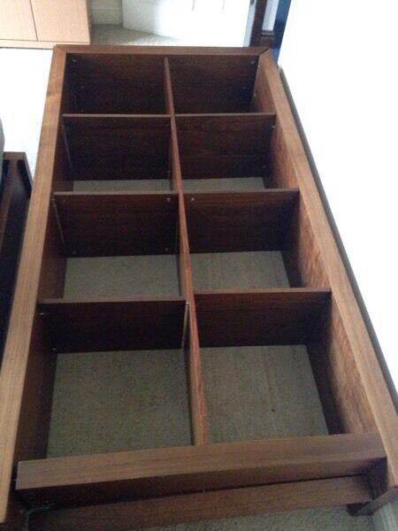Lovely MFI Walnut 8 Cube Unit / Storage / Sideboard / Bookcases