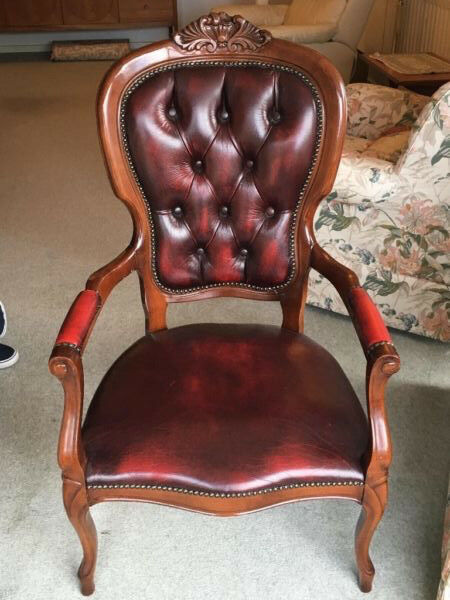 Vintage Wooden Arm Chair, Leather Finish